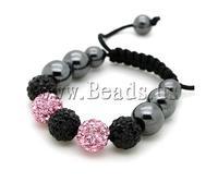 Free shipping!!!Rhinestone Shamballa Bracelets,high fashion, rhinestone pave bead, with Nylon Cord & Non-magnetic Hematite