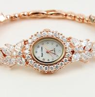Royal crown individuality brief full rhinestone elegant slender bracelet ladies watch 2527-b17