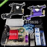 Tattoo Kit 2 Swashdrive Whip Machine Gun Power Supply Foot Pedal Needle Grip Tip