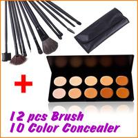 Cosmatic 10 Colors Makeup Face Concealer Palette Pressed Powder Palette Set with 12 pcs Make Up Brush Set