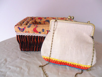 Linen multicolour cotton lace elegant messenger bag