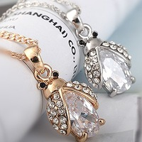 Cute Crystal Ladybug Pendant Necklace For Women