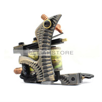 8816 Copper Carved Lettering Tattoo Machine Gun High Quality Copper 10 wrap coils Free Shipping