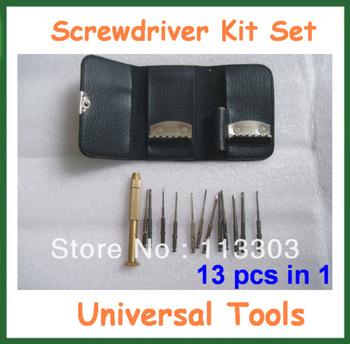 Universal 13pcs in 1 Mini Screwdriver Kit Set Repair Tool for Clock Watch Computer Mobile Phone Free Shipping