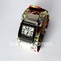 In Stock Watch Multicolor womon Lady's Braided band Strap Quartz Wrist watch f8 PD007