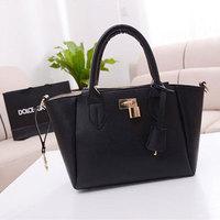 Elegant Women's Celebrity Tote Handbag Lock Shoulder Satchel Bag Black LZF05