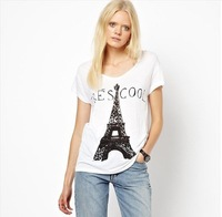 Free ship women's Paris Eiffel Tower printing t shirt short sleeve 100%cotton t-shirt lady t shirts