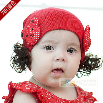 2013 spring and autumn infant hat child hat pocket bear wig