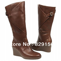 Wholesale 2013 New  fashion women genuine leather wedges heel winter Fall Knight Thigh Knee-High pointed Toe Boots size 5-10