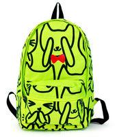 free shipping Hyper neon green preppy style bow tie cat massifs women's backpack school bag