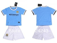 Hot sale 13/14 100% Manchester City home blue kids soccer football jerseys + shorts kits,children soccer uniforms ,Free shipping