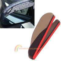 R1B1 2PCS Car Rear View Mirror Flexible Anti Rain Guard Shade Auto Weatherstrip