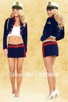 Cosplay Set Sailor Navy Suit Stewardress Halloween Sexy Playsuit Lingreie with Cap Underclothes Skirt Black Free Size-No Shoes