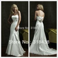 Free shipping HE-164 Elegant Sheath Pleat  Flowers Satin Wedding Dress Write/Ivory Custom-made