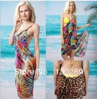 FREE SHIPPING, 2014 new  fashion women's sexy bikini printed cover ups  deep v-neck strap ice silk beach dresses