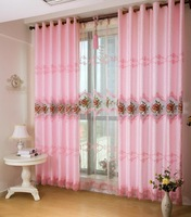 Quality hydrotropic cutout embroidered curtain cloth window screening pink