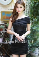 Pleated double-shoulder short-sleeve solid color tube top sexy one-piece dress gentlewomen dress