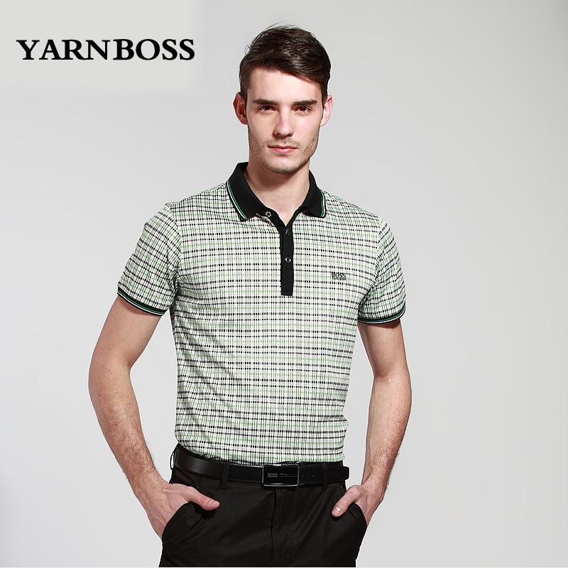 Yarnboss men's clothing quality business casual fashion turn-down collar slim short-sleeve T-shirt(China (Mainland))