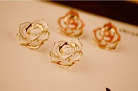 Min order is $10 (mix order )Flower Elegant Rose Stud earrings Pink Charm Earring New wholesale