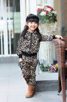 free shipping Children's clothing 2013 male female child personality zipper leopard print velvet sports casual sets twinset