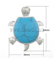 Free shipping!!!Turquoise Pendant,New Arrival, Dyed Turquoise, Animal, blue, 43x34x6mm, Hole:Approx 6mm, 10PCs/Bag, Sold By Bag