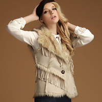 Genial 2013 chamois compound fur turn-down collar faux fur vest outerwear tassel short leather women's double faces waistcoat