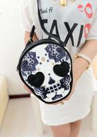 2013 skull female bags heart PU embroidered shoulder bag messenger bag small zipper bag