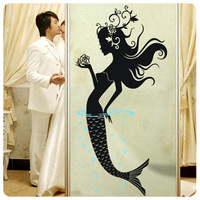 Mermaid wall stickers painting romantic glass film decoration the mirror sticker