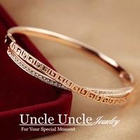 18K Rose Gold Plated Austrian Rhinestones Double-Deck Cross Retro Rome Style Pave G Lady Bangle Bracelet Wholesale