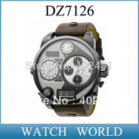 DZ7126 HK post free shipping Fashion Men's Quartz Watch Double display Multi Time Zones Leather watch DZ7126 +original box
