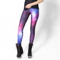 Summer Milky Way Galaxy Leggings explosion models of digital printing purple leggings Leggings Black Milk