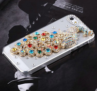 HK Free Shipping Bulk Elegant Rhinestone Luxury Diamond Crystal Bling Colorful Peacock Case Cover for iPhone 5 5g Accessory