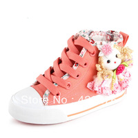 2013 Brand kids shoes  girls high shoes zipper children's canvas shoes children shoes  princess  with flower  free shipping
