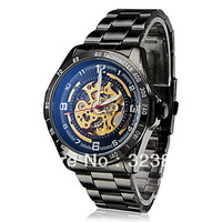 Free Shipping sport For Mens hollow face automatic black Stainless Steel Mechanical wrist Watch s2