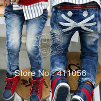 2013 autumn cat pocket boys clothing girls clothing baby child long trousers jeans kz-0850