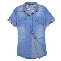 male summer denim shirt fashion short-sleeve denim shirt casual vintage wash water wearing white denim coat
