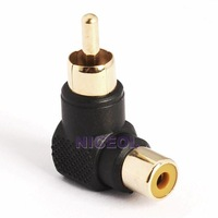 NI5L RCA Male to Female M/F Connector 90 Right-angle Adapter Audio AV Plug