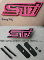 free shipping 10pcs 3D STI stick emblem for SUBARU Auto Car Emblem car Badge letter Sticker STI grill emblem PINK  RED