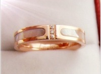 Free shipping 2013 new shell titanium steel rings with gems 18 k gold jewelry designer rings wholesale fashion jewelry