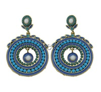 Free shipping!!!Zinc Alloy Earrings,Female Jewelry, with Resin, Flat Round, antique gold color plated, enamel & with rhinestone
