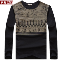 Clothes autumn new arrival 2013 men's clothing long-sleeve T-shirt men's clothing unique print 100% cotton slim male t-shirt
