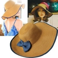 Hat female summer sunscreen sun-shading strawhat beach cap folding bow large brim hat