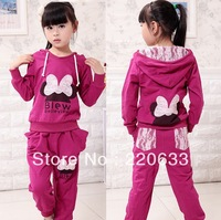new 2013,autumn clothing,cartoon,minnie mouse,girl's clothes,kids girl suit,children hoodies,children outerwear,sport suit