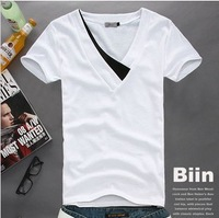 Men's clothing summer boys clothes Men slim V-neck color block decoration 100% short-sleeve cotton short-sleeve T-shirt