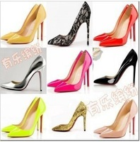 free shipping,2014 European fashion pointed toe red soles high thin heels women shoes pumps,lady's heels wedding,7 colors,euro40