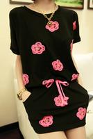 2013 summer women's small flower print pocket short skirt casual long t-shirt slim waist one-piece dress