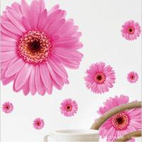 Decorative Combination home DIY Wall Sticker Chrysanthemum Yellow Daisy Art Decor Home Bedroom free shippin