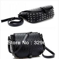 2014 high quality designer handbag girls punk black street stylerestore rivet skull PU leather handbag shoulder bag clutch purse