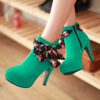 2013 women's autumn and winter shoes short-leg boots ribbon high heels bow gentlewomen elegant woman shoes plus size available