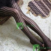 Free shipping: Fashion Sexy Black Women Pretty Slim Stripe Pattern Jacquard Pantyhose Tights wholesale